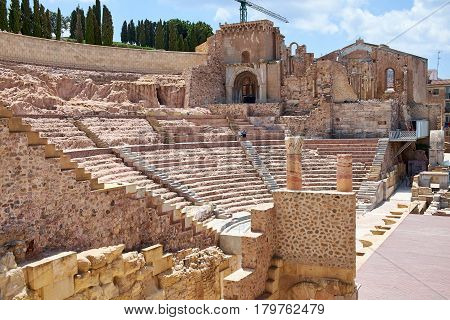 Roman amphitheater and ruins in Cartagena city, region of Murcia, Spain