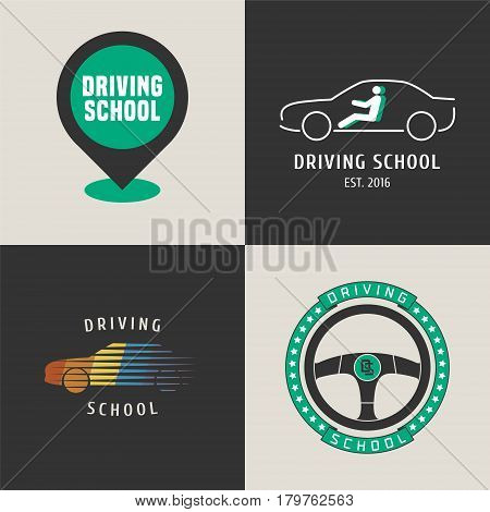 Set of driving school vector logo. Map pointer car driving on the street graphic design elements