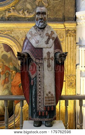 PERM RUSSIA-MARCH 26 2017: St. Nicolas of Miracle-worker from the collection of wooden sculpture of Perm art gallery. Perm Russia.
