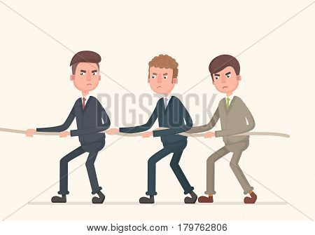 VTeamwork of businessmen, pull the rope.ector illustration in a flat style.