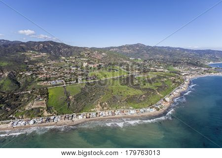 Malibu California pacific ocean shoreline homes, bluffs and beaches.