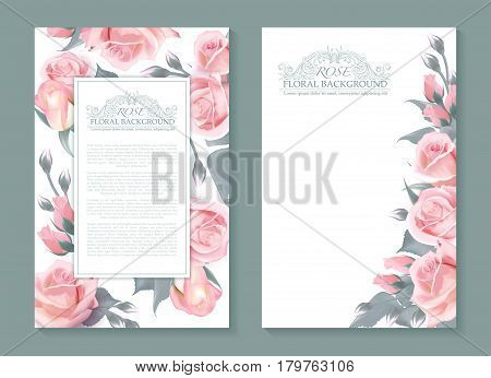 Vector botanical banners with pink roses. Vertical design for wrapping paprer, soap, beauty salon, natural and organic products, make up, health care products or aromatherapy, etc. Place for text