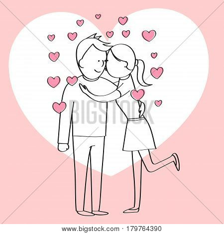 couple in love, cartoon character, couple kissing