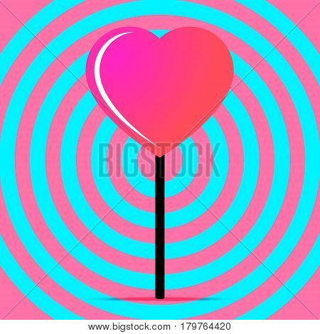 Pink lollipop in the form of heart. Lollipop vector illustration.