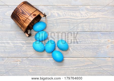 Traditional Eggs Painted In Blue Color In Busket