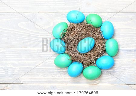Traditional Eggs Painted In Blue Color With Nest