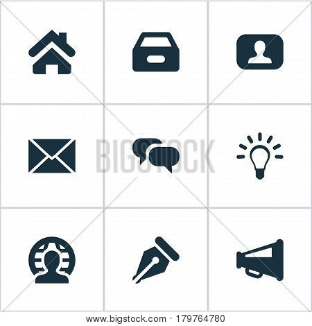 Vector Illustration Set Of Simple Business Icons. Elements Dossier, Lamp, Representative And Other Synonyms Representative, Dossier And Letter.