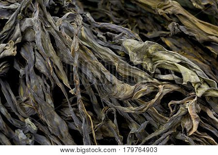 Background texture of dried edible seaweed or wakame.