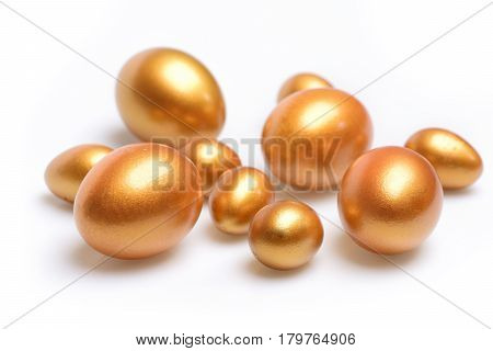 Traditional Eggs Painted In Golden Color