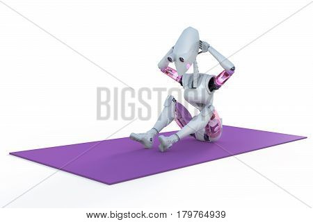 3d render of a female robot doing sit ups on a mat against a white background.