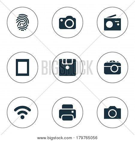 Vector Illustration Set Of Simple Hardware Icons. Elements Touch Computer, Camera, Photocopier And Other Synonyms Computer, Fingerprint And Photo.