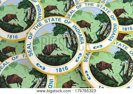 US State Buttons: Pile of Indiana Seal Badges 3d illustration