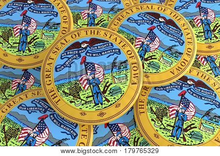 US State Buttons: Pile of Iowa Seal Badges 3d illustration