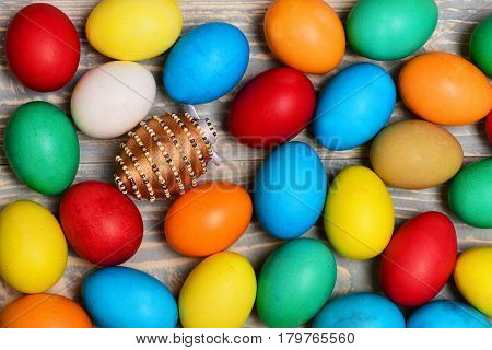 Set With Colorful Eggs . Happy Easter Concept