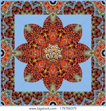 Beautiful handkerchief with red flower mandala on blue background and ornamental frame. Vector illustration. Square rug, wrapping design.