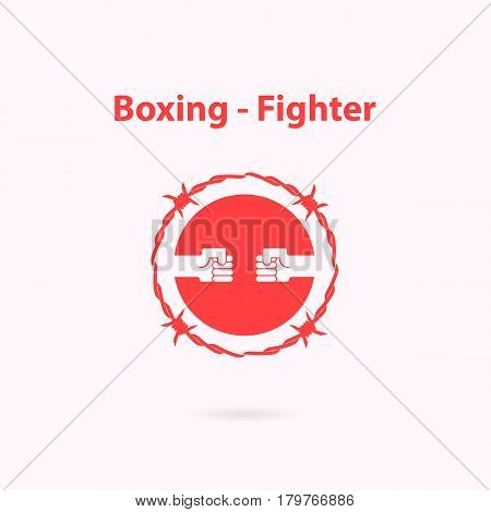 Human Hand icon and barbed wire logo design template.Boxing and fighter icon.Fighting academy boxing champions club logo design.Vector illustration.