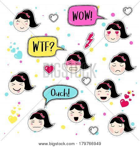 Set of cute patch badges. Girl emoji with different emotions and hairstyles. Kawaii emoticons, speech bubbles wow, wtf, ouch. Set of stickers, pins in anime style. Isolated vector illustration.