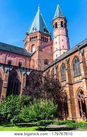 the cloister and the bell tower of the St. Martin's Cathedral in Mainz Germany
