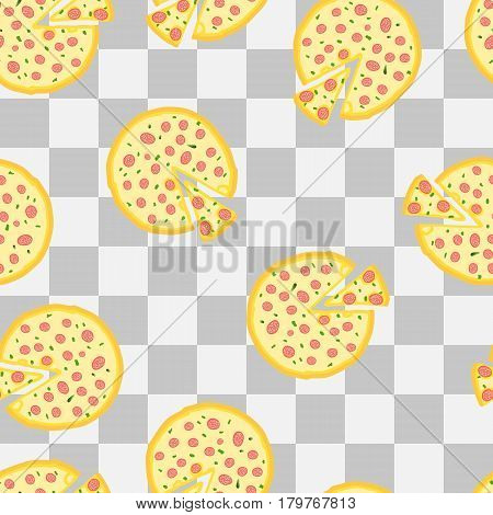 Seamless background, hand-drawn, pizza with cut piece, vector illustration