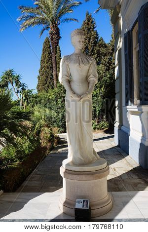 CORFU, GREECE - MARCH 4, 2017: Achilleion palace in Corfu Island, Greece. Statue of Empress of Austria Elisabeth of Bavaria, also known as Sisi.