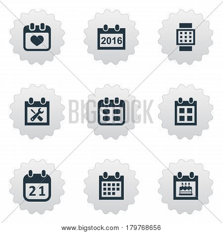 Vector Illustration Set Of Simple Date Icons. Elements Date Block, Heart, 2016 Calendar And Other Synonyms Watch, Special And Agenda.