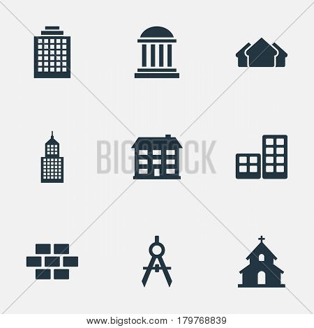 Vector Illustration Set Of Simple Structure Icons. Elements Shelter, Stone, Engineer Tool And Other Synonyms Direction, Offices And House.
