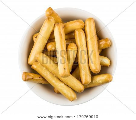 Bread Sticks With Salt In Bowl Isolated On White