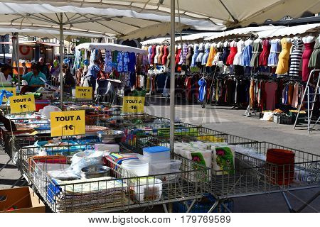 Versailles France - august 13 2016 : market in the picturesque city center in summer