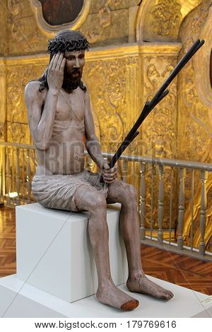 PERM RUSSIA-MARCH 26 2017: Jesus Christ from the collection of wooden sculpture of Perm art gallery. Perm Russia.