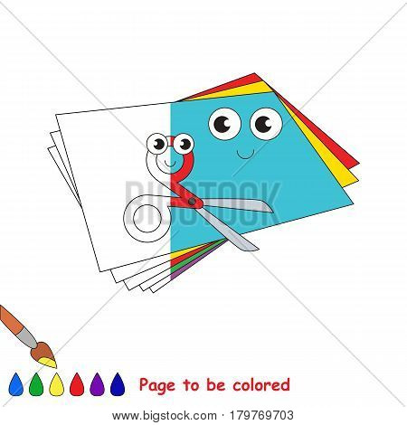 Applique set with paper and scissors, the coloring book to educate preschool kids with easy gaming level, the kid educational game to color the colorless half by sample.
