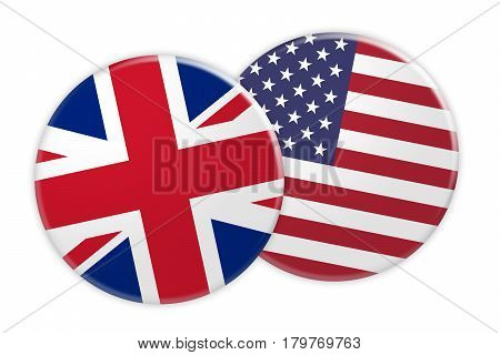 News Concept: UK Great Britain Flag Button On US Flag Button 3d illustration on white background