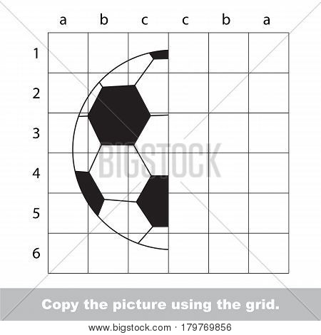 Finish the simmetry picture using grid sells, vector kid educational game for preschool kids, the drawing tutorial with easy gaming level for half of Football Ball