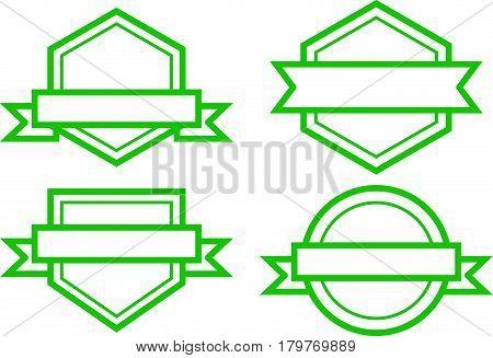Set of green vintage label on white background