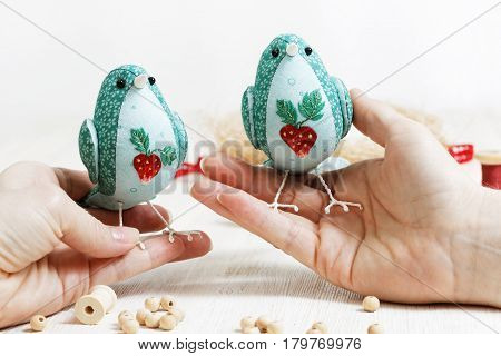 Handmade Bird Sewed From A Cloth