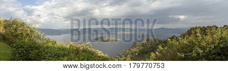 Panorama Of Crater Lake, Virunga, Rwanda