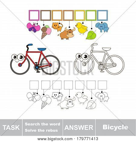 Educational puzzle game for kids. Find the hidden word Bicycle
