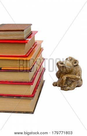 Monkey thinks looking at book you need to learn