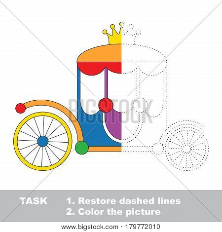 Colorful princess chariot with gold crown. Dot to dot educational game for kids, task is to trace and color the colorless half.
