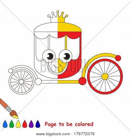 Red Gold Chariot, the coloring book to educate preschool kids with easy gaming level, the kid educational game to color the colorless half by sample.