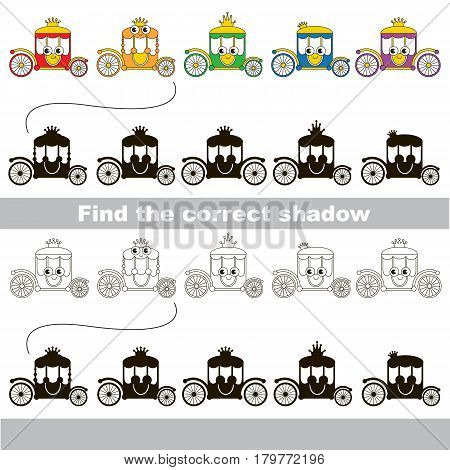 Funny Chariots set to find the correct shadow, the matching educational kid game to compare and connect objects and their true shadows, simple gaming level for preschool kids.