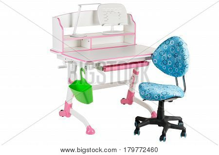Blue chair pink school table green basket and desk lamp on the white isolated background.