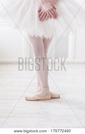 Ballerina legs third position in pointe, ballet dancer closeup background, vertical image