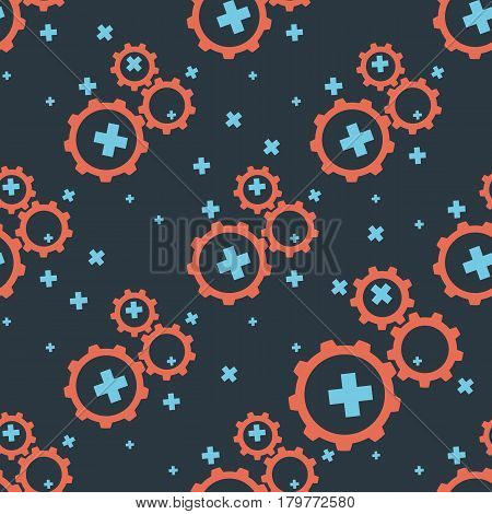 Seamless pattern with dark gears on a dark blue background. Vector illustration