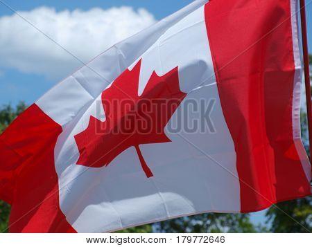 A Canadian flag flying over Texas soil.