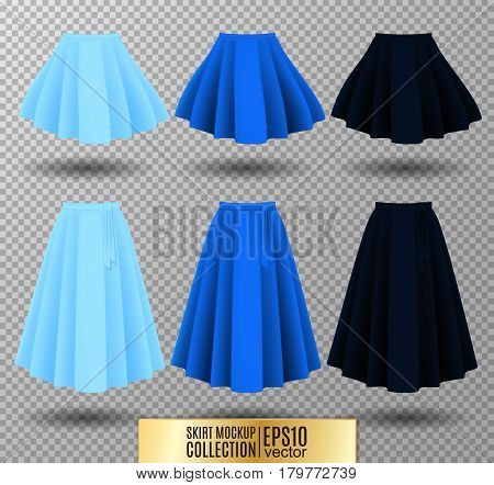 Vector illustration of different model skirt on transparent background. Skirt mockup. Light, bright and dark blue variation.