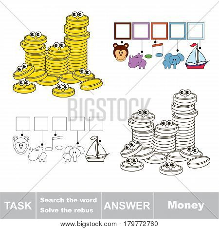 Educational puzzle game for kids. Find the hidden word Money.