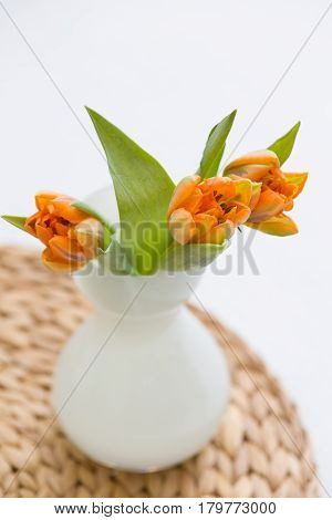 Three fresh spring orange tulips in a nice white glass vase on the straw board. Home decor for spring and Easter.