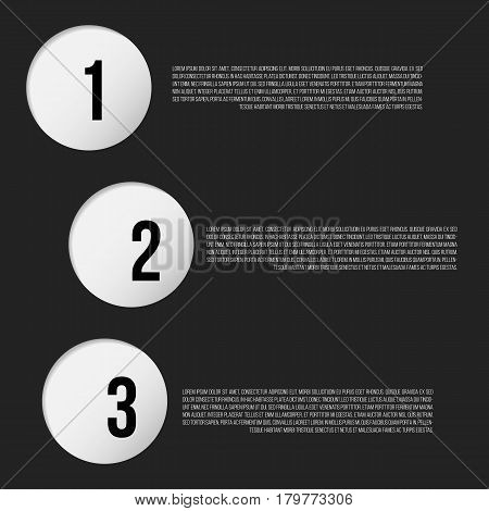 1-2-3 paper holes and places for text. Infographic vector illustration
