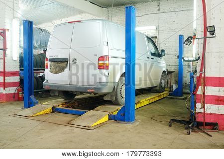 Kaluga, Russia - March, 28, 2017: Working shop in a car repair station in Kaluga