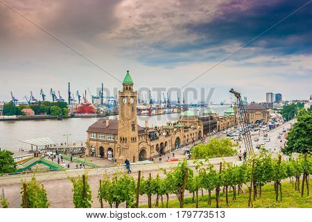 Famous Hamburger Landungsbruecken With Harbor And Elbe River, St. Pauli District, Hamburg, Germany